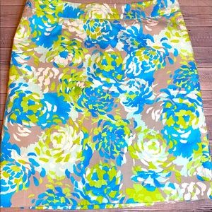 MADISON BLUE & LIME GREEN WATERCOLOR FLORAL SKIRT
